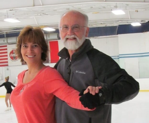TBSA ice dance coach Marta Nilsen, left, poses with her Gold medalist ice dance student, Roger Estey.